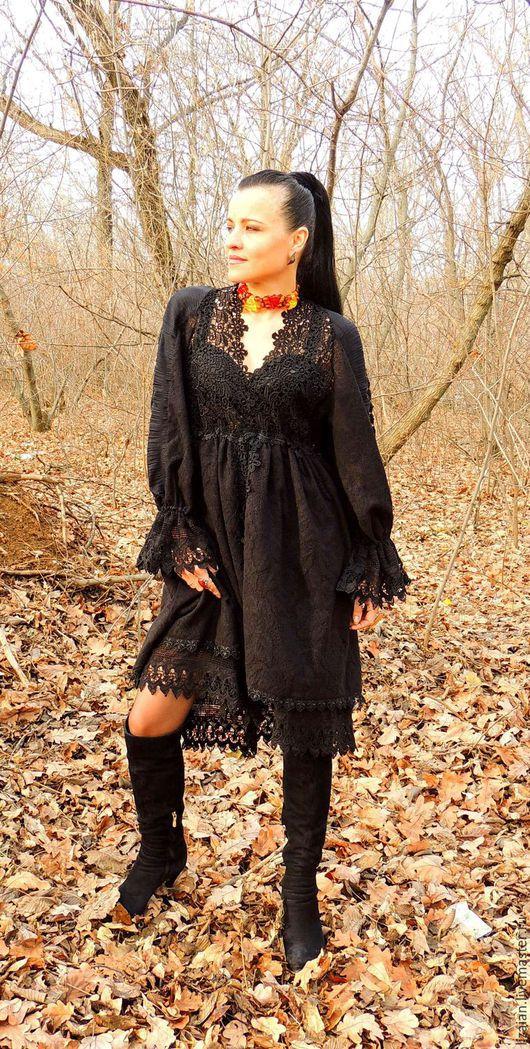 Платья ручной работы. Ярмарка Мастеров - ручная работа. Купить Платье зимнее в стиле БОХО (№7). Handmade. Черный