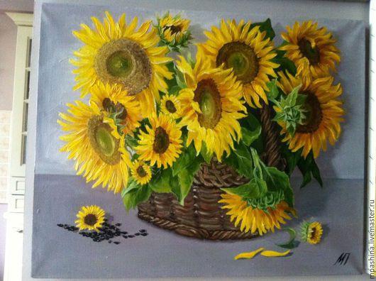 Картины цветов ручной работы. Ярмарка Мастеров - ручная работа. Купить Подсолнухи. Handmade. Подсолнухи, холст, лаковое покрытие