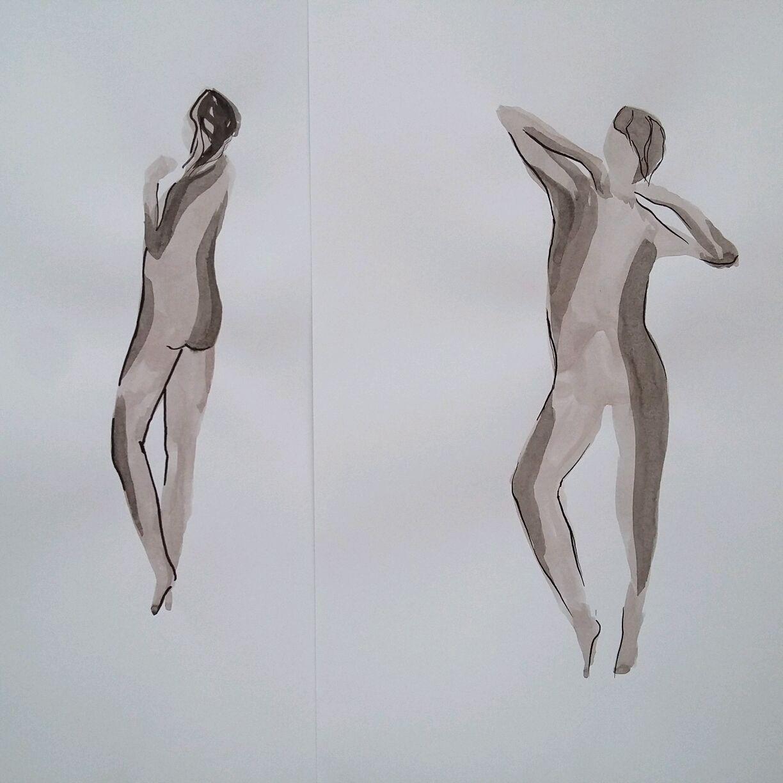 Картина девушка Графика тушью Фигура Диптих Сет из двух картин, Картины, Нефтеюганск,  Фото №1