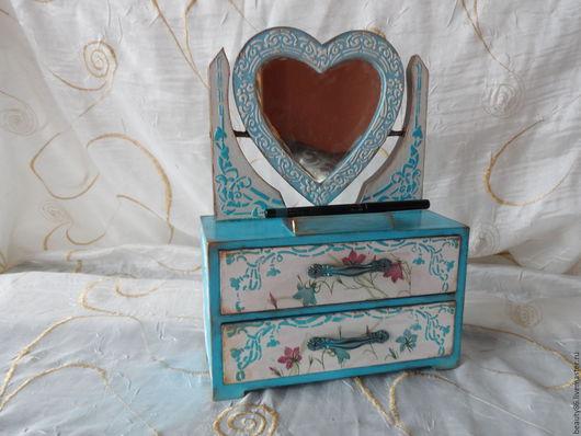 """Шкатулки ручной работы. Ярмарка Мастеров - ручная работа. Купить Комод с зеркалом """"сердце"""". Handmade. Бирюзовый, шкатулка деревянная"""