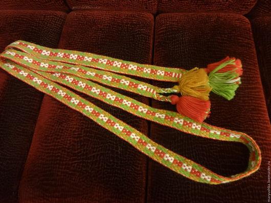 Ткачество ручной работы. Ярмарка Мастеров - ручная работа. Купить Пояс тканый на бердо. Handmade. Тканый пояс, народный стиль