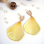 Украшения handmade. Livemaster - original item Earrings with Real Yellow Tulip Petals Korean Accessories 3. Handmade.