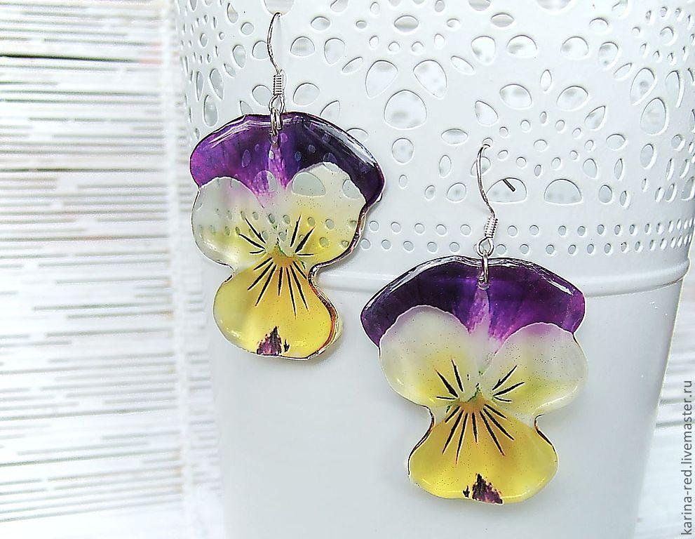Transparent Resin Earrings from Pansy Flowers Earrings Boho Jewelry, Earrings, Taganrog,  Фото №1