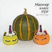 handmade. Livemaster - original item Amigurumi Halloween Pattern. Crochet Pumpkin Unicorn. Handmade.