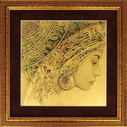 Этно ручной работы. Ярмарка Мастеров - ручная работа. Купить Стихия Вода - картина из сусального золота 960 пробы. Handmade.