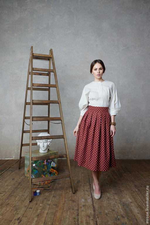"""Юбки ручной работы. Ярмарка Мастеров - ручная работа. Купить Миди юбка """"Луиза"""". Handmade. Коричневый, юбка в горошек, шоколад"""