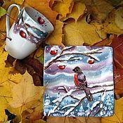 """Посуда ручной работы. Ярмарка Мастеров - ручная работа Кружка и квадратная тарелочка. """"Зимние яблоки"""".. Handmade."""