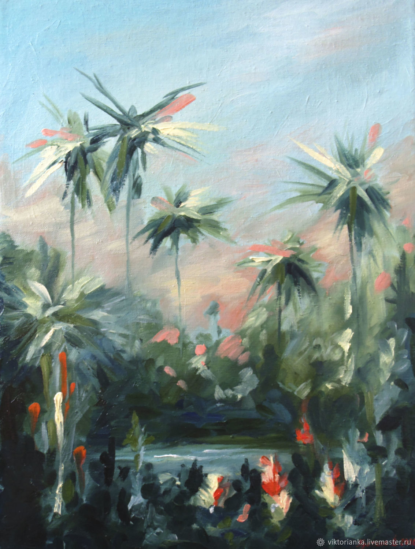 Bali oil painting 30 x 40 cm palm trees, Pictures, Yevpatoriya,  Фото №1
