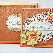 Открытки ручной работы. Ярмарка Мастеров - ручная работа Открытка С Днем Рождения  оранжево-золотая в коробке. Handmade.