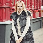 Одежда ручной работы. Ярмарка Мастеров - ручная работа Меховой жилет из лисы черный. Handmade.