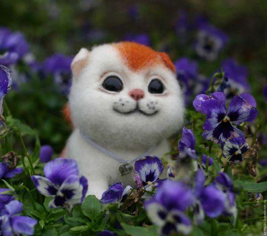 кот котенок рыжий котенок белый котенок пушистый котик котик рыжий котик бело-рыжий кот кошечка котик маленький котенок купить авторскую игрушку войлочный кот кот из шерсти