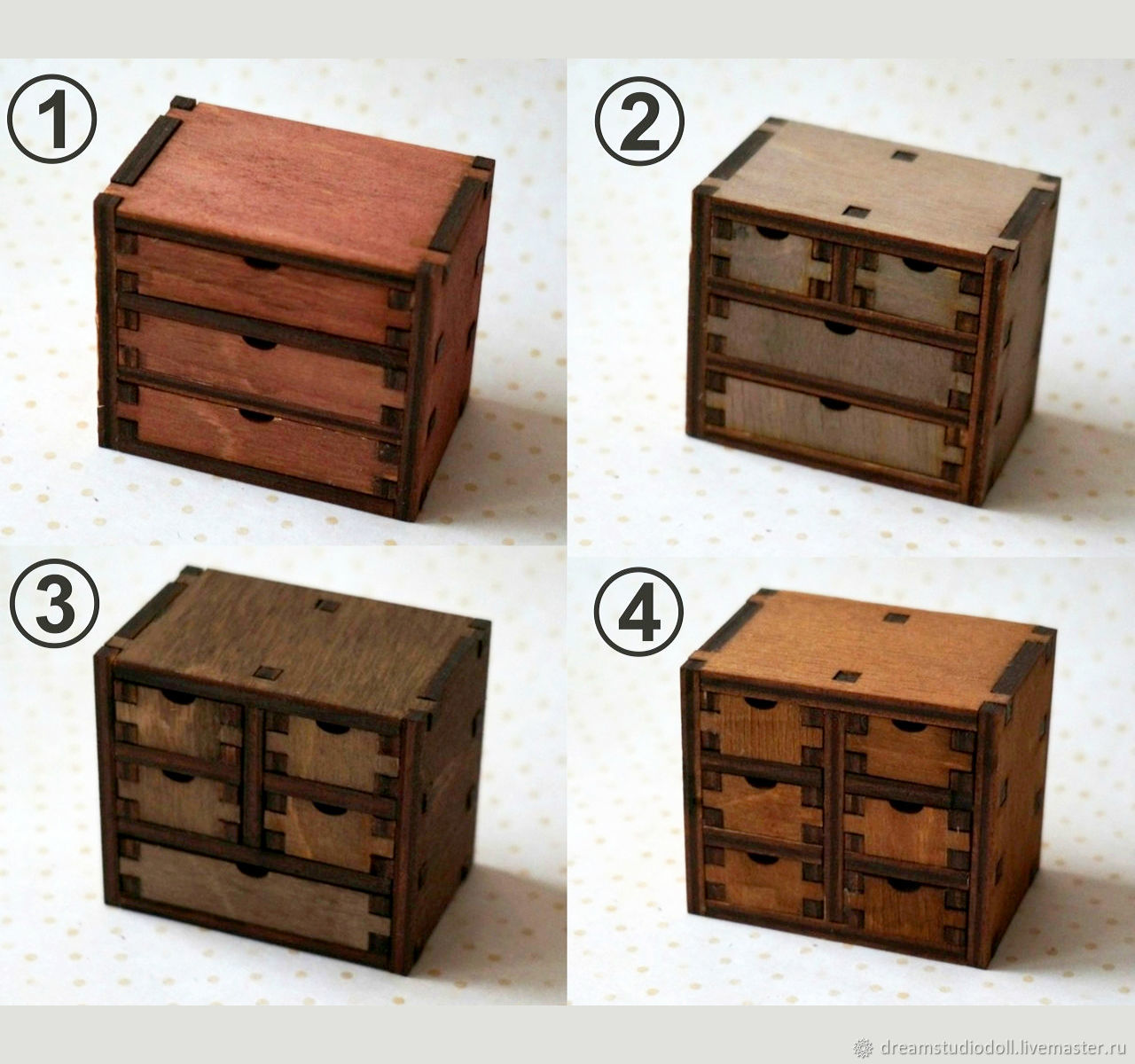 4 types of mini-dressers for dolls.