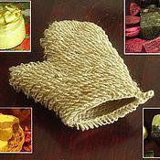 Косметика ручной работы. Ярмарка Мастеров - ручная работа Мочалка-рукавичка из джута. Handmade.