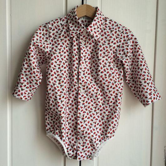 Блузки ручной работы. Ярмарка Мастеров - ручная работа. Купить Рубашка-боди. Handmade. Белый, рубашка для мальчика, 100% хлопок