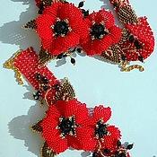 """Украшения ручной работы. Ярмарка Мастеров - ручная работа Комплект """"Алые цветы"""". Handmade."""