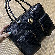 Сумки и аксессуары handmade. Livemaster - original item Men`s bag made of crocodile leather, in dark blue color.. Handmade.