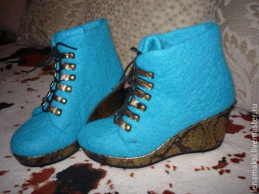 """Обувь ручной работы. Ярмарка Мастеров - ручная работа. Купить Ботильоны """"Шарли"""". Handmade. Бирюзовый, Ботинки из войлока, шерсть 100%"""