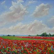 Картины и панно handmade. Livemaster - original item Painting Poppy field, Poppies, oil on canvas, 40 x 30. Handmade.
