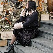 """Одежда ручной работы. Ярмарка Мастеров - ручная работа Бархатная юбка-солнце """"Горький шоколад"""". Handmade."""