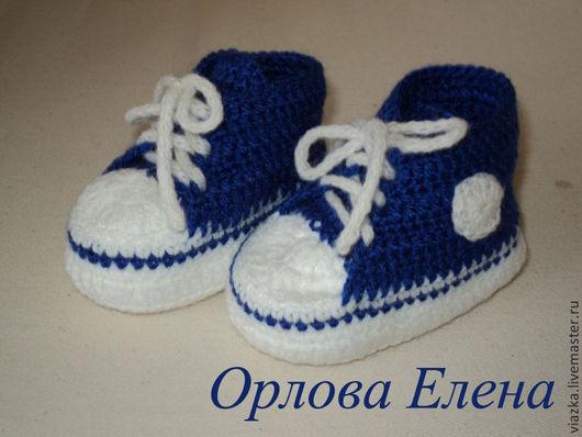 Оригинальные пинетки кеды, обувь для новорожденного, подарок на рождение, ручная работа, Орлова Елена