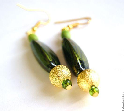 серьги `Золотая олива` зеленые