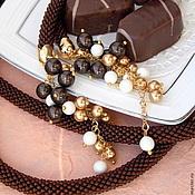 """Украшения ручной работы. Ярмарка Мастеров - ручная работа Лариат """"Шоколад с карамелью"""". Handmade."""