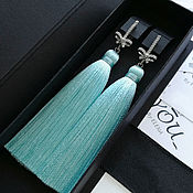 Украшения handmade. Livemaster - original item Mint earrings tassels with bows. Turquoise earrings. Handmade.