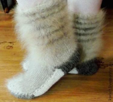 Носки, Чулки ручной работы. Ярмарка Мастеров - ручная работа. Купить Носки из собачьей шерсти (комбинированные). Handmade. Овечья шерсть