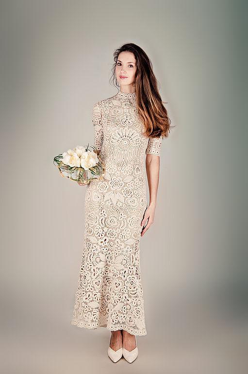 Свадебное платье ручной работы кружево