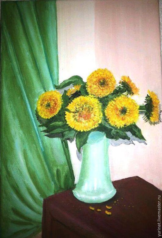 Картины цветов ручной работы. Ярмарка Мастеров - ручная работа. Купить Декоративные подсолнухи. Handmade. Желтый, подсолнухи подарок