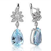 Украшения handmade. Livemaster - original item Gold earrings with aquamarines 23,8 ct and diamonds. Handmade.