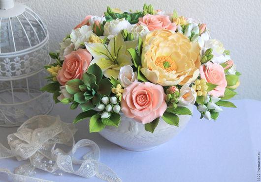 Букеты ручной работы. Ярмарка Мастеров - ручная работа. Купить Букет с гиперкиумом. Handmade. Разноцветный, цветы из полимерной глины, розы