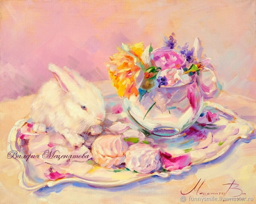 Oil painting on canvas, 50/40. Marshmallow rabbit, Pictures, Moscow, Фото №1