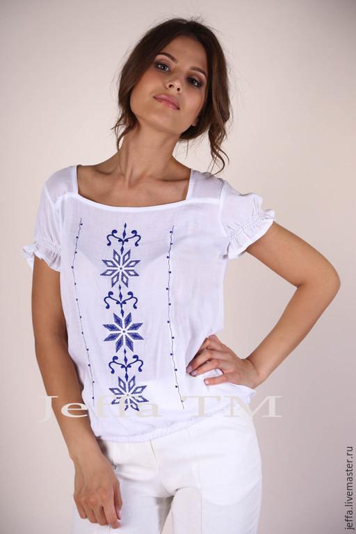 Блузки ручной работы. Ярмарка Мастеров - ручная работа. Купить Блузка с вышивкой арт.1259. Handmade. Белый, модная одежда