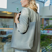 Сумки и аксессуары handmade. Livemaster - original item Genuine leather bag shopper gray (leather bag for women). Handmade.