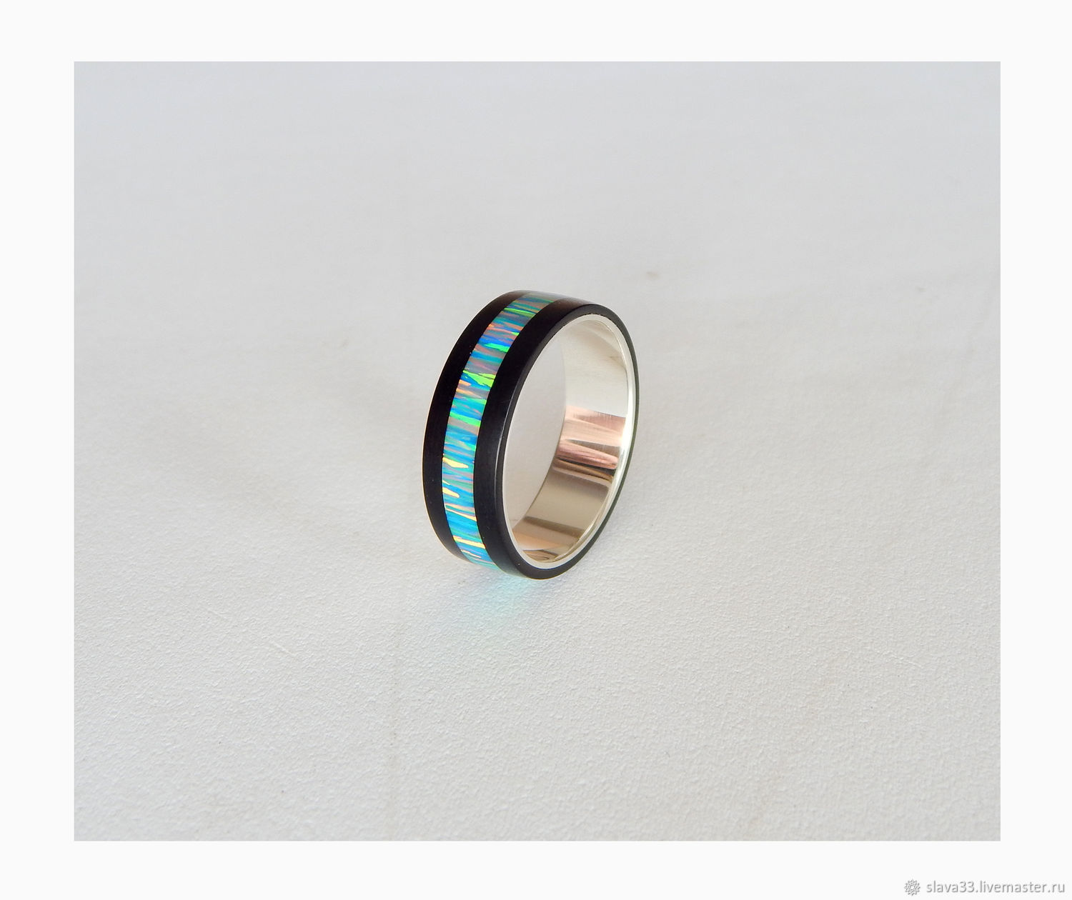 Silver ring with jet and opal, Rings, Vladimir,  Фото №1