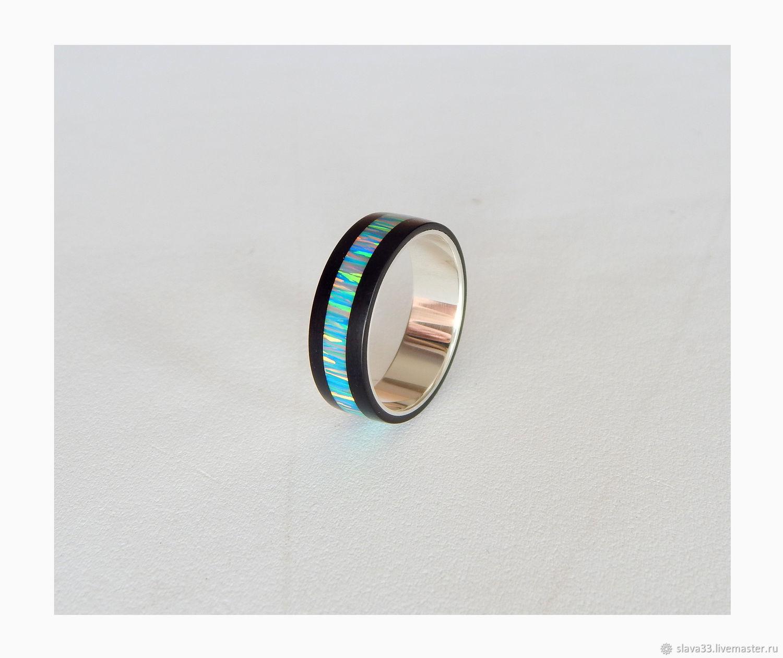 Серебряное кольцо с гагатом и опалом, Кольца, Владимир,  Фото №1