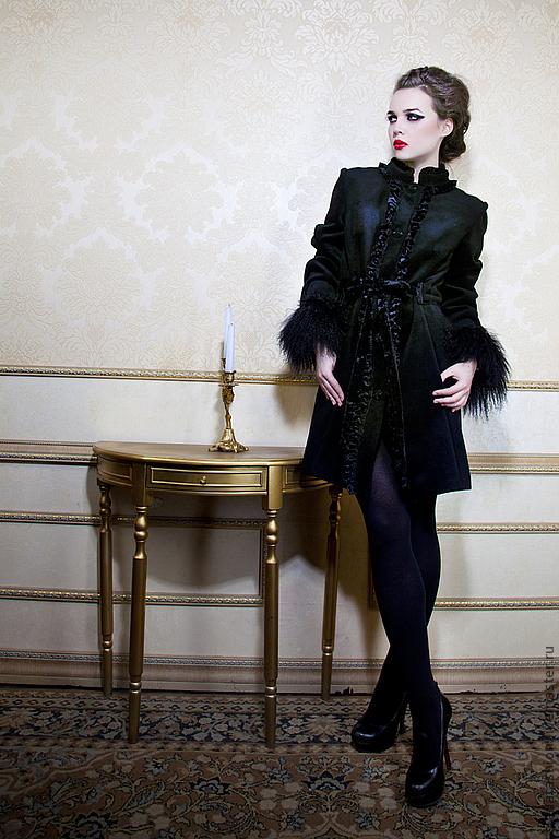 """Верхняя одежда ручной работы. Ярмарка Мастеров - ручная работа. Купить Пальто """"Кашемир, лама и бархат"""". Handmade. Черный, кружево"""