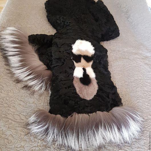 Шляпы ручной работы. Ярмарка Мастеров - ручная работа. Купить Шарф меховой из каракуля норки и лисы. Handmade. Черный