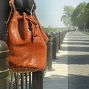 Сумки и аксессуары ручной работы. Ярмарка Мастеров - ручная работа Сумка кожаная рыжая Мешок кожаная сумка коричневая ВИП Подарок женщине. Handmade.