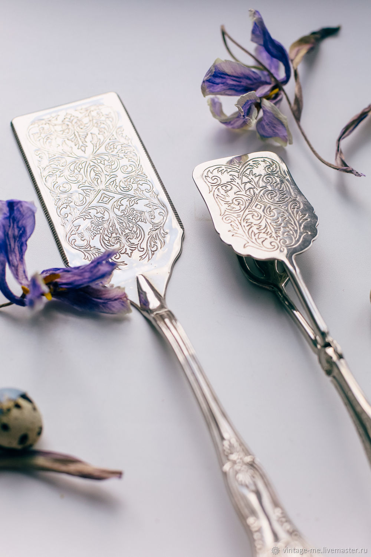 Vintage Large Silver Plated Dessert Tongs England, Vintage Cutlery, Nizhny Novgorod,  Фото №1