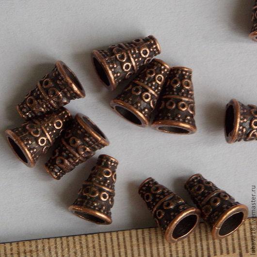 Для украшений ручной работы. Ярмарка Мастеров - ручная работа. Купить Концевик для бусины или шнура. Handmade. Бордовый, фурнитура
