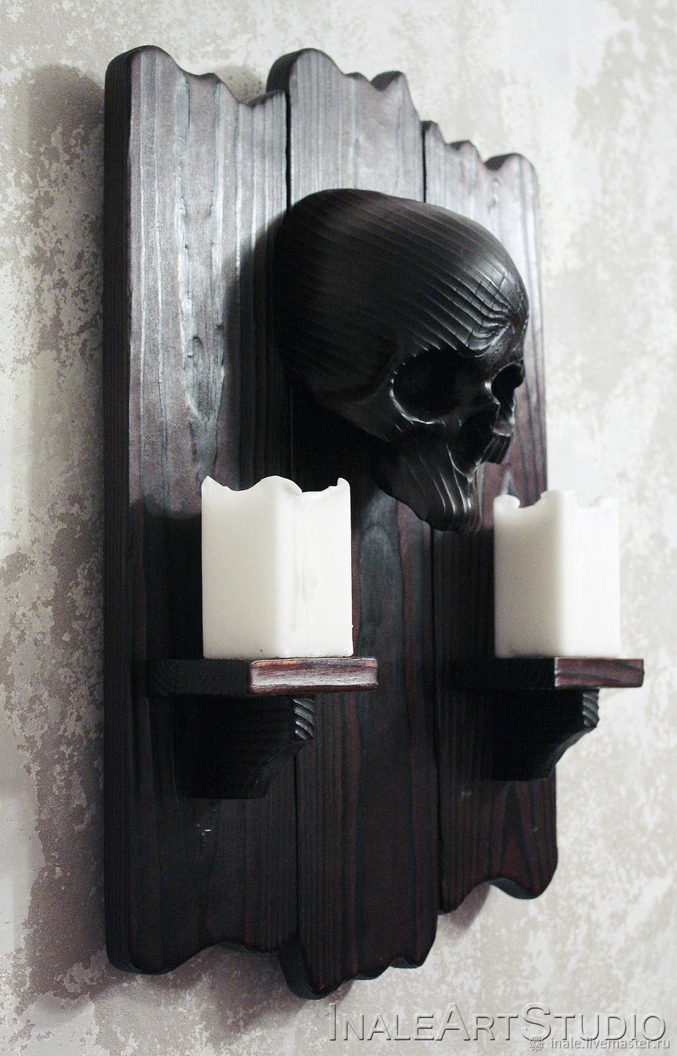 Skull wall decor Skull candle holder Wooden candle holder, Pictures, Tomsk,  Фото №1