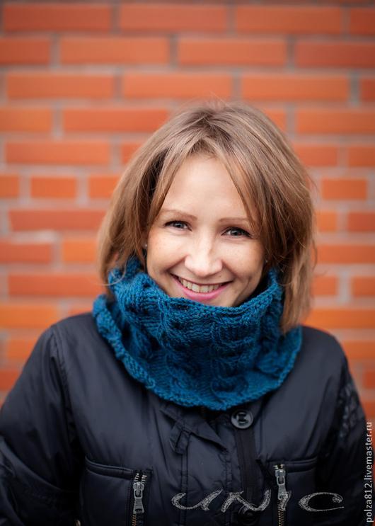 Снуд, шарф, снуд синий, шарф синий, синий, тёмно-синий, глубокий синий, зимний, тёплый снуд,  комплект  шапка шарф, комплект шапка снуд, купить снуд, купить шарф, подарок девушке, подарок женщине, под