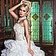 Дизайнерское свадебное платье RANIA LUXE с корсетом и воланами. Царственная роскошь для утонченной аристократки! Авторские украшения из самоцветов,  драгоценного бисера, Swarovski и фианитов.
