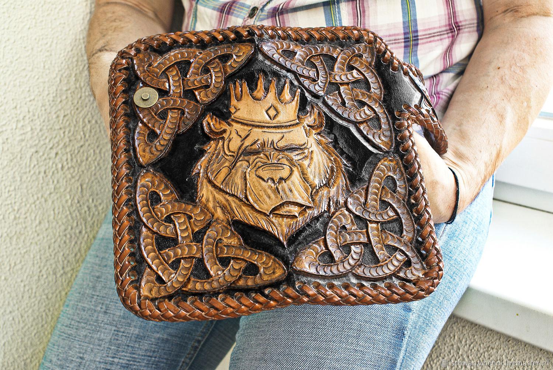 Men's leather wallet 'bear King', Wallets, Krasnodar,  Фото №1