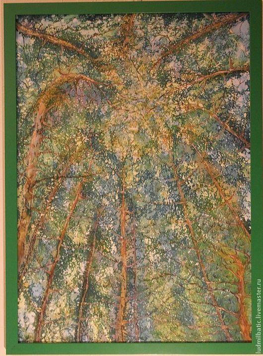 Пейзаж ручной работы. Ярмарка Мастеров - ручная работа. Купить Когда древья были большими.... Handmade. Зеленый, картина для интерьера