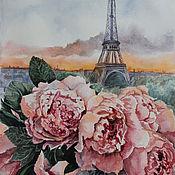 Картины и панно handmade. Livemaster - original item painting Evening peonies of Paris. Handmade.