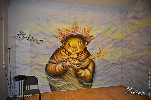 Декор поверхностей ручной работы. Ярмарка Мастеров - ручная работа. Купить Роспись стен и дверей в анти-кафе. Handmade. Разноцветный