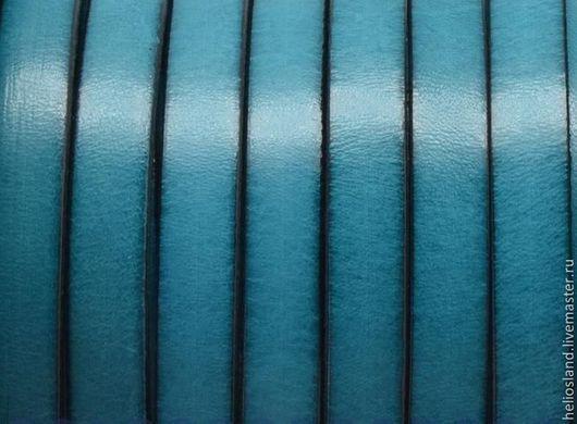 Для украшений ручной работы. Ярмарка Мастеров - ручная работа. Купить Кожаный шнур плоский 10 мм бирюза. Handmade.